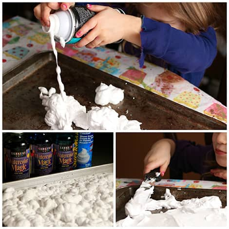 Shaving cream squirted on a baking sheet.