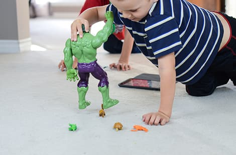 Child positions with Hulk.
