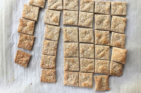 Baked dough cut into square wheat thin crackers.