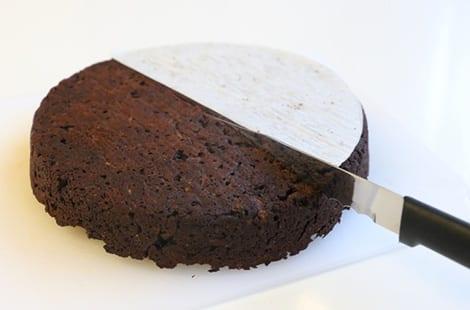 Chocolate cake cut in half.
