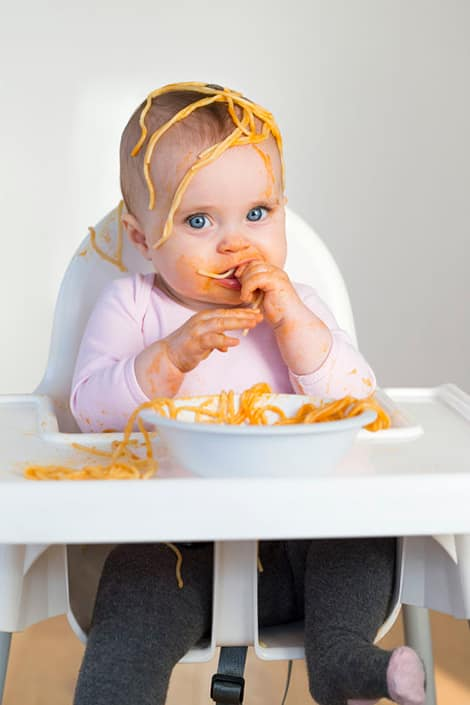 BABY EATING SPAGHETTI GETTING MESSY