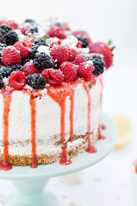 Blackberries, raspberries adorn the top of this beautiful sponge cake.