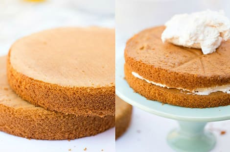 Split photo: left shows two round sponge cakes stacked on top; right picture shows whipped cream between the cakes.