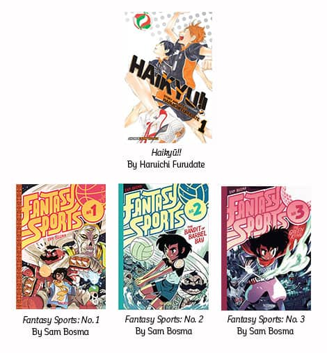 Book covers: Haikyu!! by Haruichi Furudate; Fantasy Sports: No.1 basketball, Fantasy Sports: No.2 volleyball, Fantasy Sports: No.3 mini-golf — all by Same Bosma.
