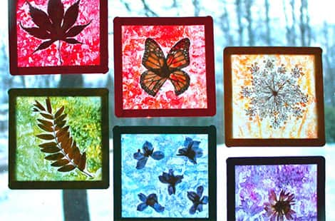 Nature-inspired stained glass.