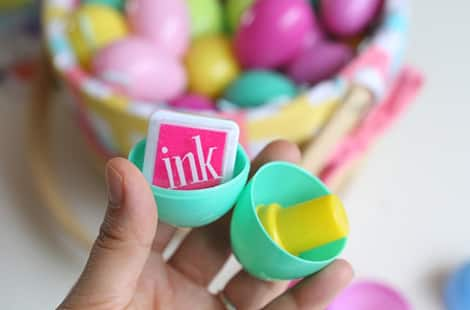 Ink stamps in plastic eggs.