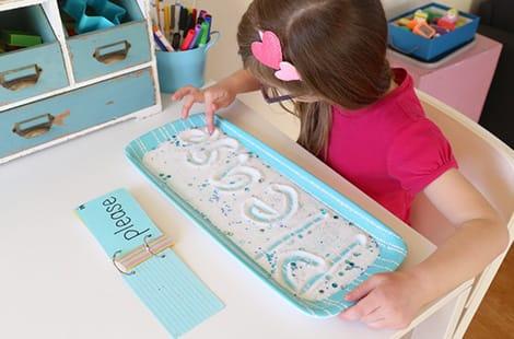Little girl spells