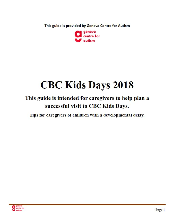 The first page of the social story created for caregivers visiting CBC Kids Days.