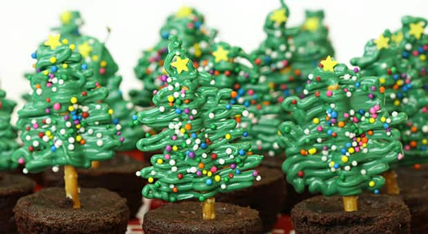 Close-up of chocolate pretzel Christmas tree brownies
