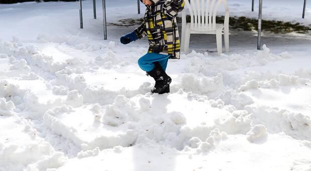 Kid doing snow maze