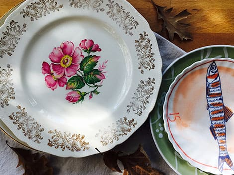Vintage plates from a second hand store