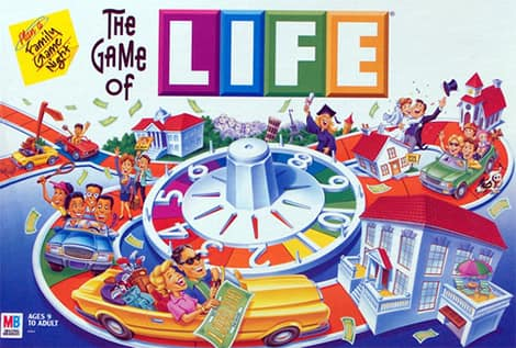The Game of Life board game.