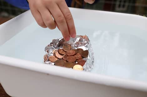 A successful floating tin foil boat with lots of pennies!