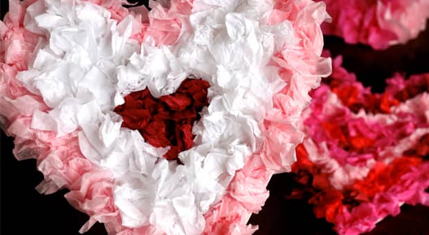 Crinkly tissue paper hearts in white, pink and red