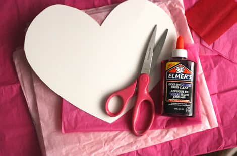 What you'll need to make tissue paper hearts