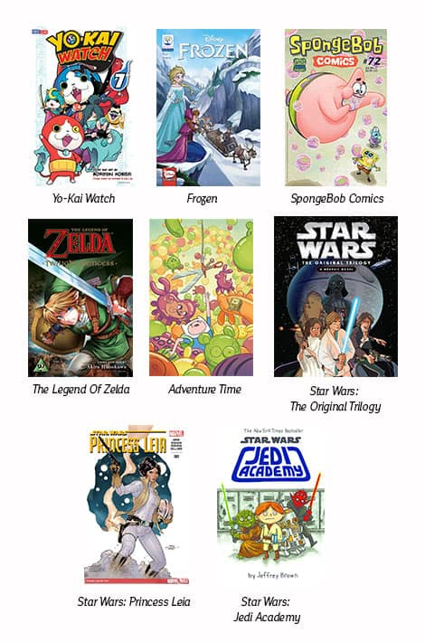 Book covers: Yo-Kai Watch; Disney's Frozen; SpongeBob; Legend of Zelda; Adventure Time; Star Wars: The Original Trilogy; Star Wars: Princess Leia; Star Wars: Academy.