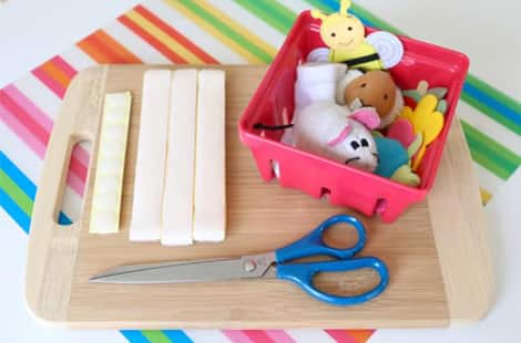 Everything you'll need to make a sticky velcro board to explore and play with