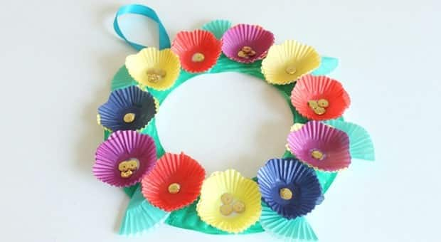 Cupcake Liner Flower Wreath