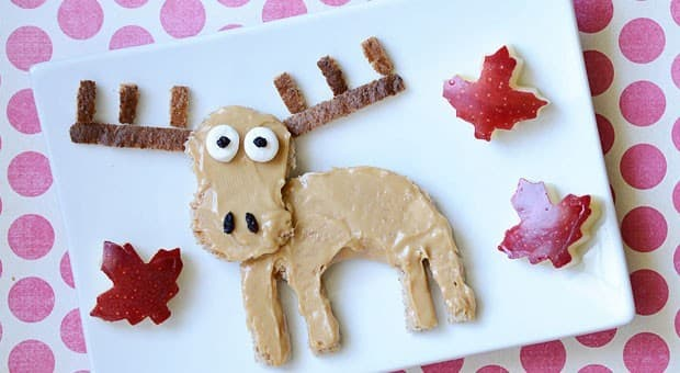 A moose made out of toast and peanut butter.