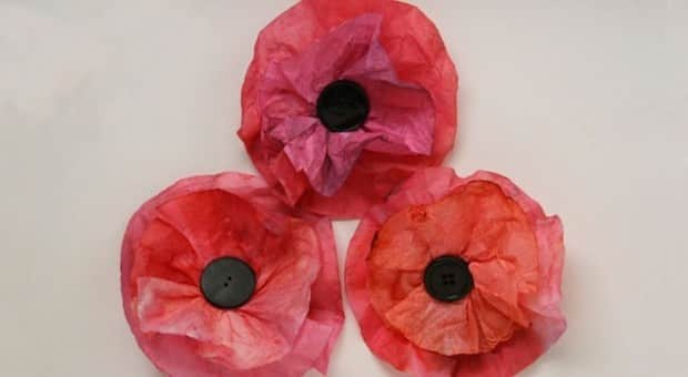 Red poppies made from coffee filters.