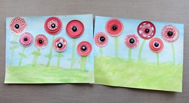 Poppy art made with patterned red paper.