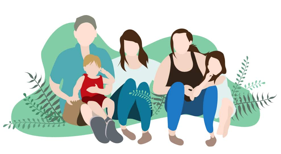 An illustration of a family of five from Newfoundland