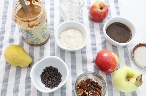 Nut butter, yogurt, chocolate chips, apples and pears.