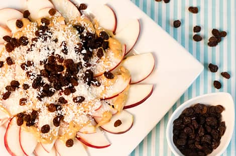 A plate of apple slices topped with peanut butter, raisins and shredded coconut.