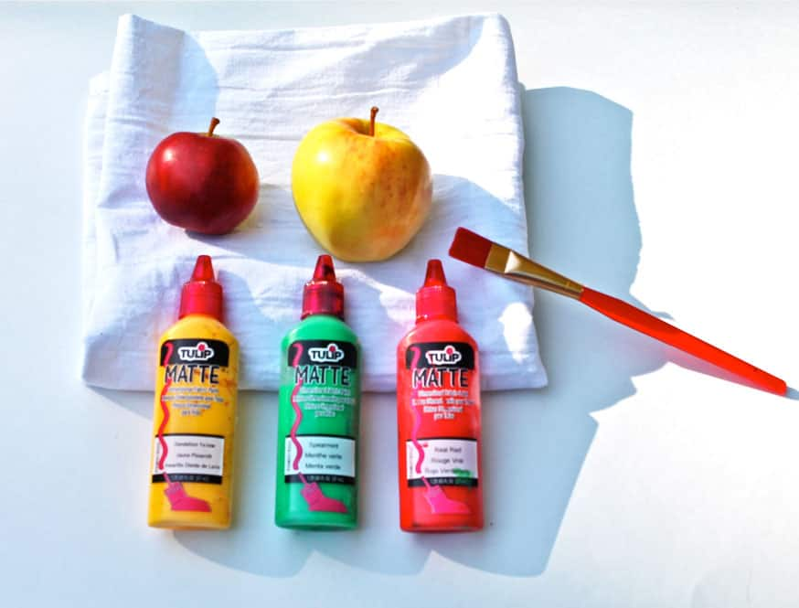 Apples, fabric paint, tea towel and a paintbrush.
