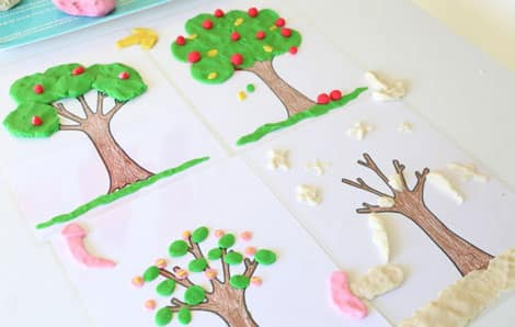 All four play dough mat trees have been covered to represent each of the seasons.