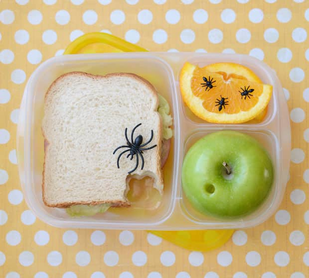 A school lunch covered with fake bugs.