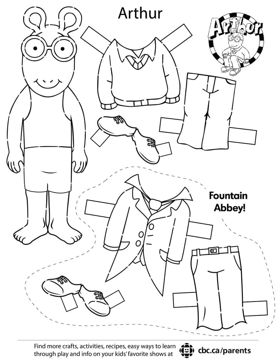 Image of Arthur paper dolls. Click to open PDF.