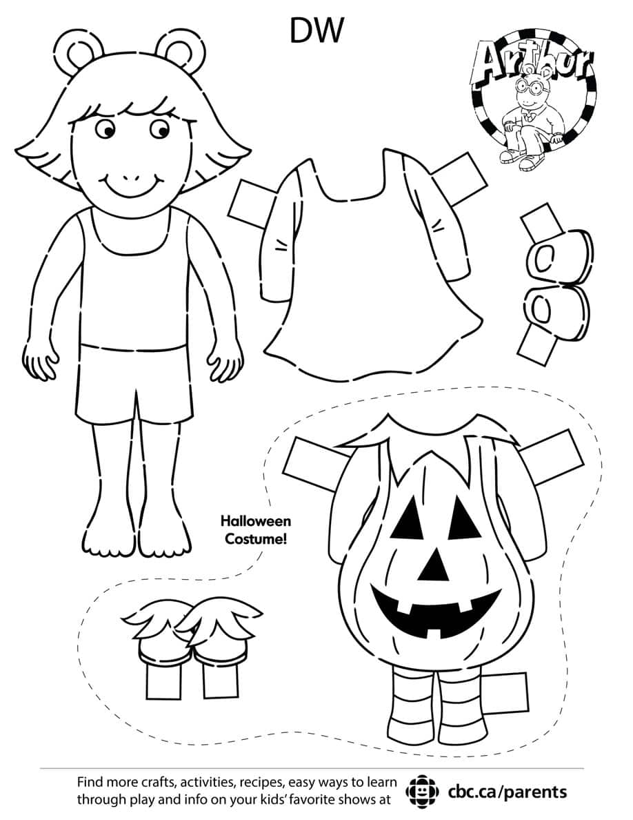Printable DW paper doll. Click to open the PDF.