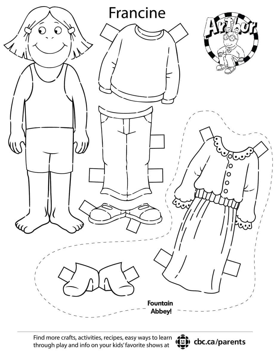 A printable Francine paper doll. Click to print the PDF.