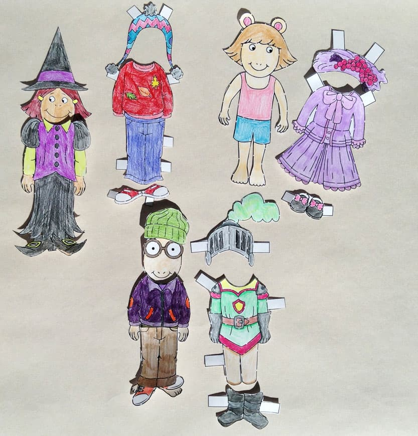 Arthur paper dolls and clothes.