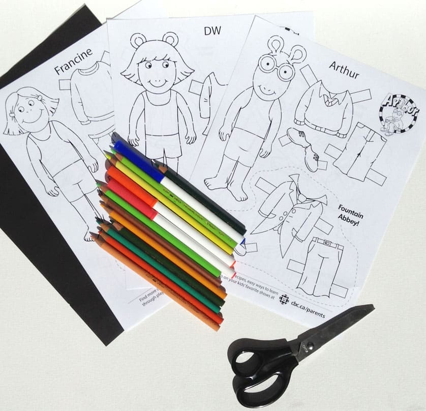 Supplies for Arthur papercraft play set
