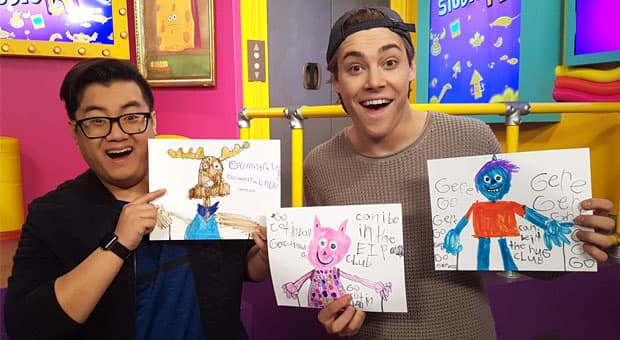 Tony and Victor with adorable drawings of Gary, Mr. Orlando and Cottonball.
