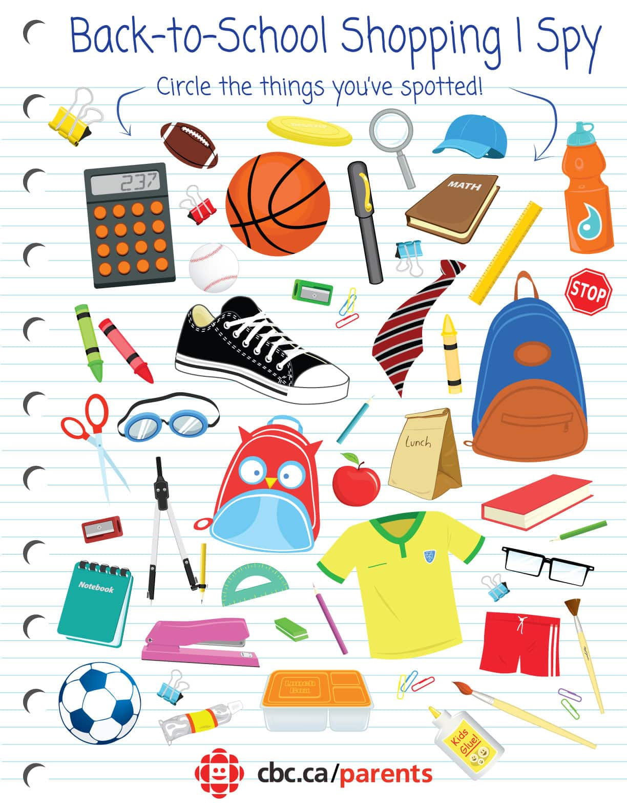 photo regarding I Spy Printable identified as Again-toward-College or university Purchasing I Spy Printable Match Participate in CBC