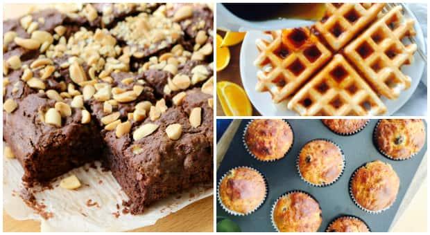 banana waffles, brownies and bread
