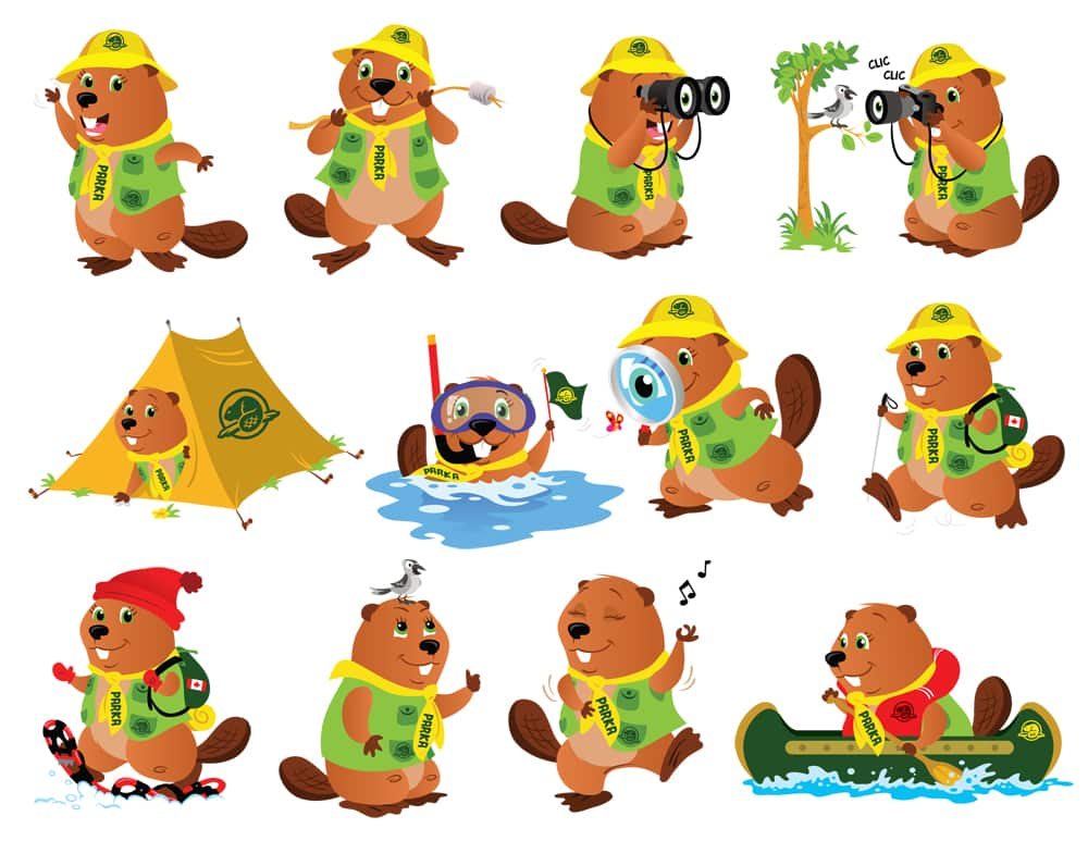 Parka, the Parks Canada mascot, having lots of outdoor adventures.