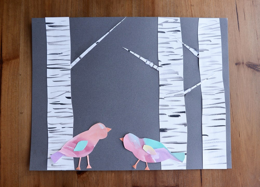 Birds and birch trees made out of paper.