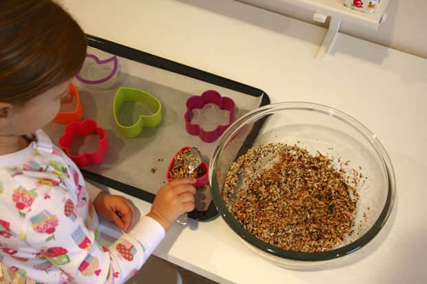 Placing bird feeder mix in cookie cutters.