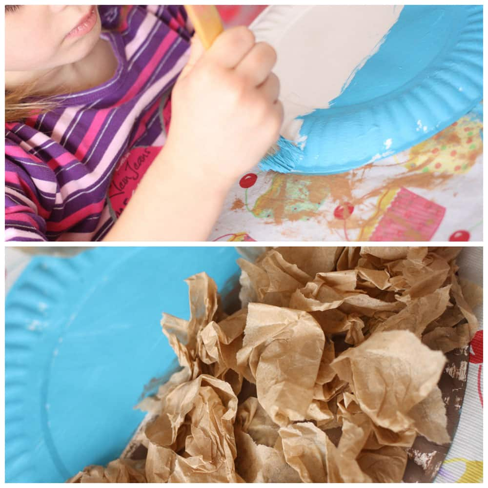 A collage of two images: a girl painting half of a paper plate blue, and a bunch of crumpled brown tissue glued to the bottom half.