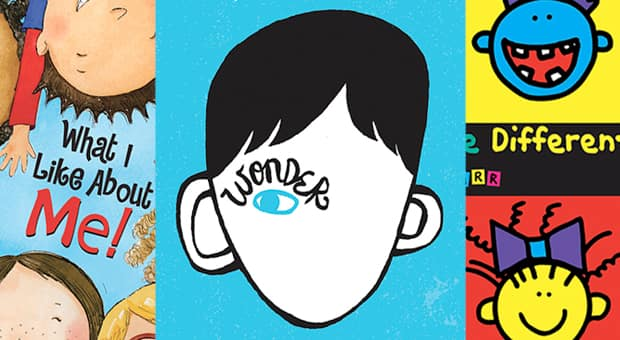 What I Like About Me by Allia Zobel Nolan and Miki Sakamoto, Wonder by R.J. Palacio, It's Okay To Be Different by Todd Parr