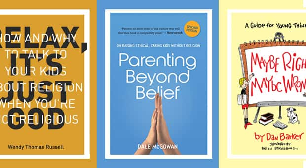 a selection of books to help kids and parents discuss religion and belief