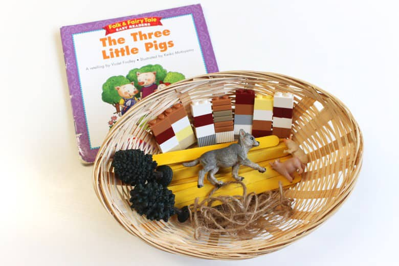 A Three Little Pigs-themed storytelling basket.