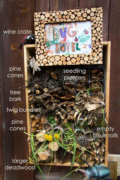 A photo of the supplies needed to make a backyard bug hotel.