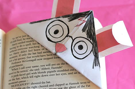 Finished bookmark fits on the corner of the page.
