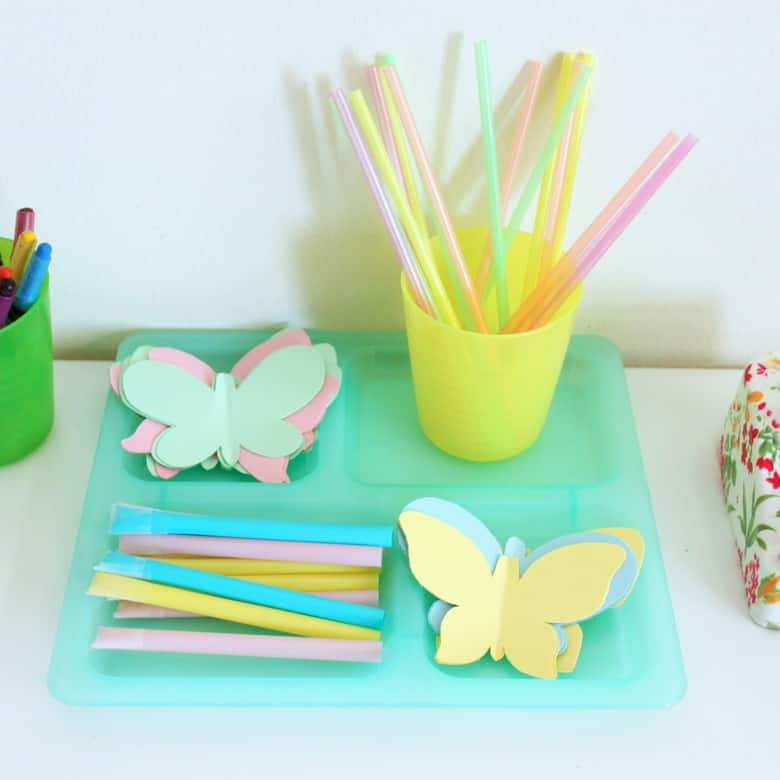 Supplies to make butterfly blowers.