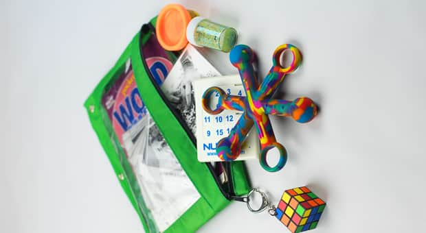 a calm-down kit for travelling